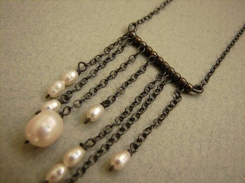 Trickling Pearls Necklace, Pearl chain tassel necklace, oxidized sterling silver chain link necklace