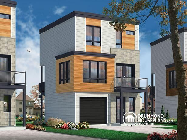 W1701 contemporary 3 floor house design for narrow lot for Home designs narrow lots