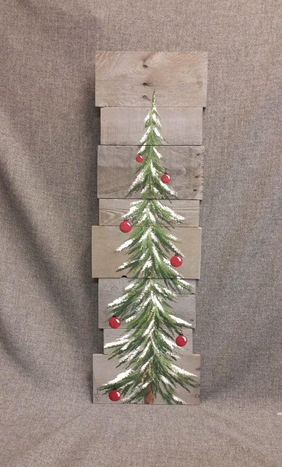 Weihnachtsbaum-Schild, Palette Kunst, rote Zwiebeln, grau zurückgefordert Palette Kunst, 3 Fuß, Schnee, Weihnachten handbemalt, Upcycled, Wandkunst, Distressed