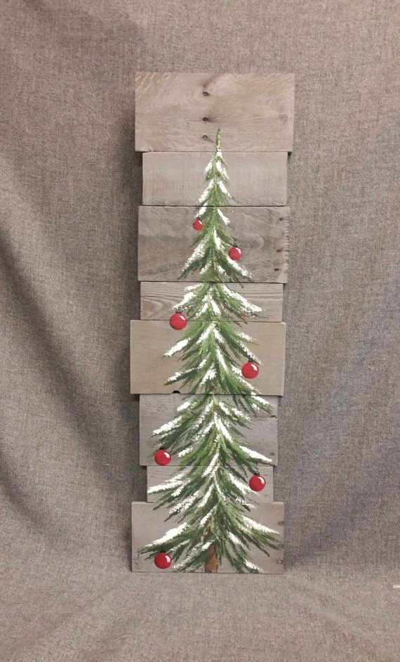 Christmas tree, red bulbs, Gray Reclaimed Pallet Art, 3 foot, winter snow, christmas Hand painted, upcycled, Wall art, Distressed