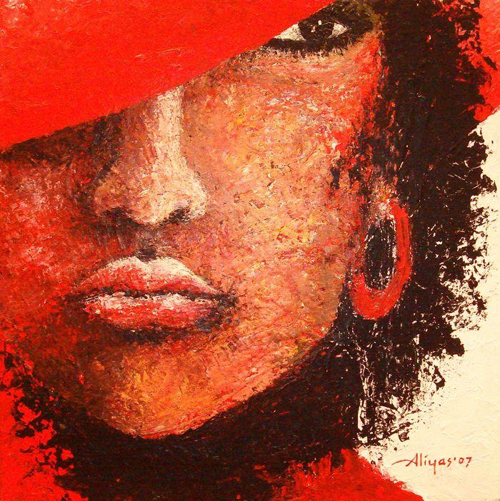 Lady in Red, Acrylic on canvas, 50cm x 50cm, Artist : Aliyas