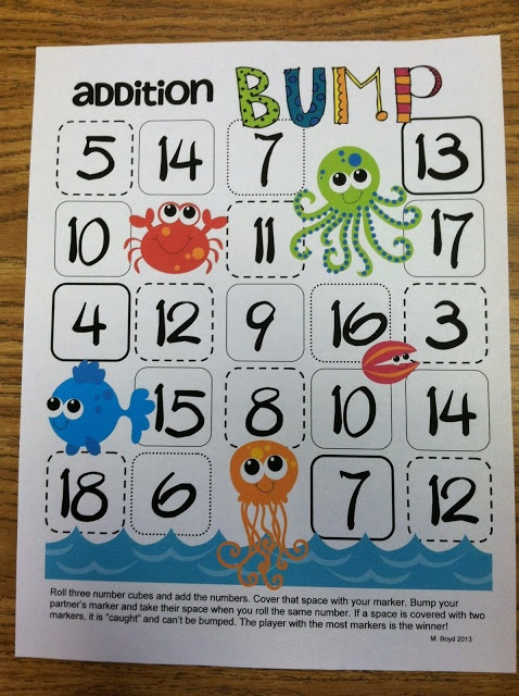 Free Addition Bump Game Ch 3 Addition 11 20 Ccss