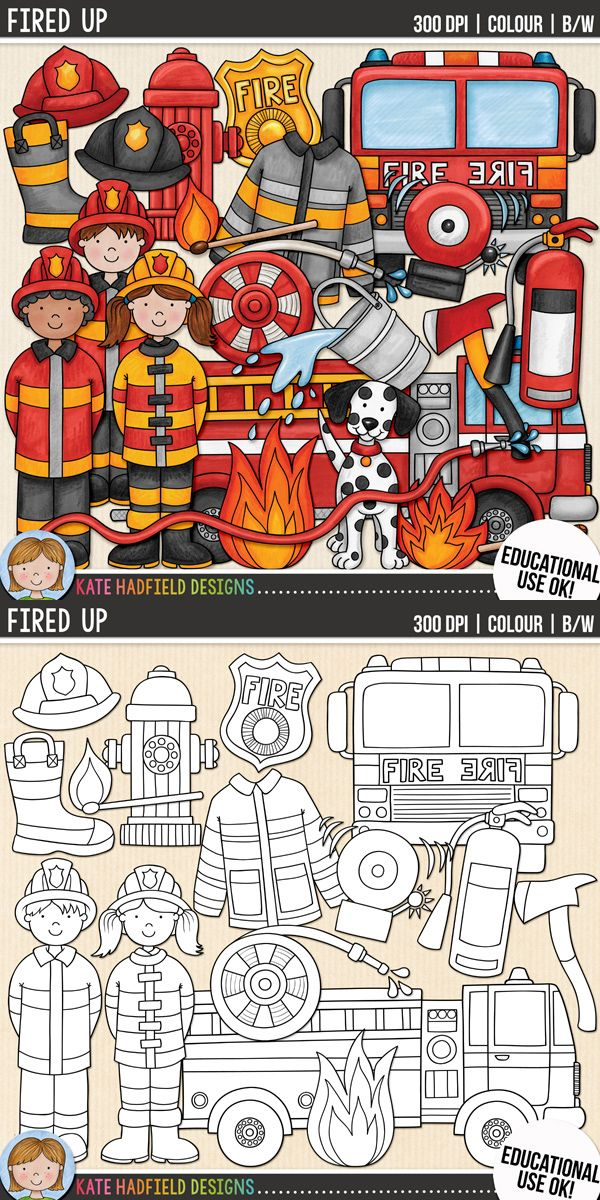 Firefighter / fire safety clip art for teachers! Contains coloured clipart and black and white outlines at 300 dpi for highest quality printing for your resources and projects! | Hand-drawn clip art by Kate Hadfield Designs at Teachers Pay Teachers