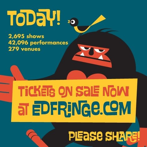 The biggest arts festival in the world, the Edinburgh Fringe Festival begins today! Get your tickets here... http://www.edfringe.com/whats-on