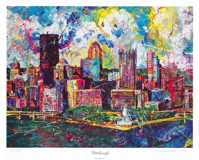 Pittsburgh Skyline Kunst Pittsburgh Künstler von JohnosArtStudio, $74,50