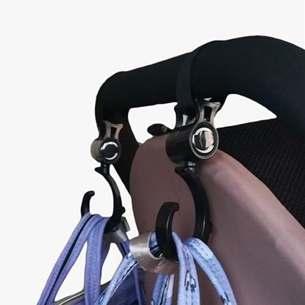 2 PCS Multi Purpose Baby Stroller Hook Pushchair 360 Swivel Hanger Hooks
