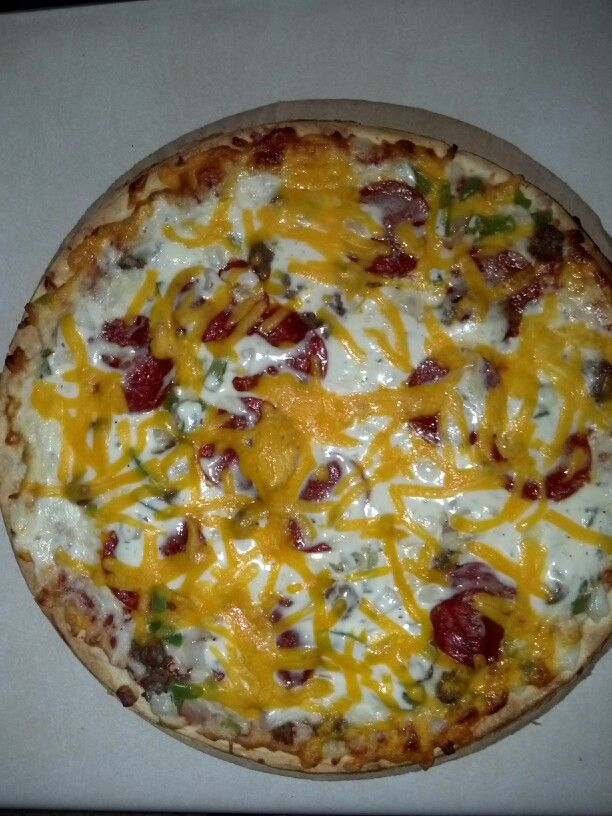 Frozen Pizza (Jack's supreme) + ranch + cheddar cheese