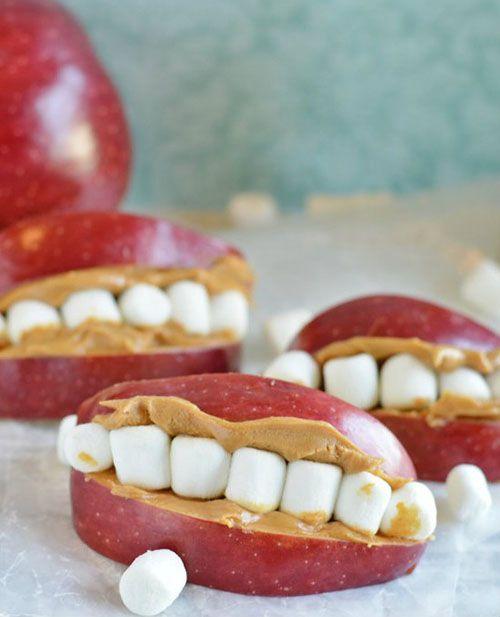 4. Peanut Butter-Stuffed Apple Monster Teeth... 11 Healthy Halloween Treats That Are Scary Cute
