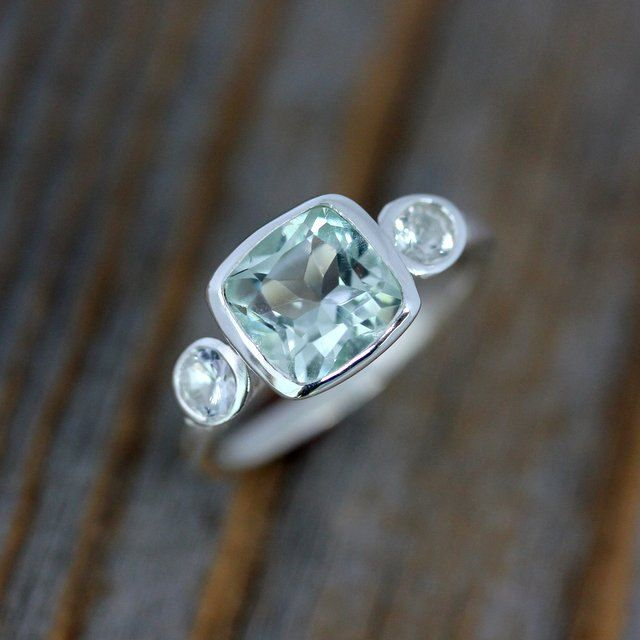 Prasiolite Green Amethyst and White Sapphire Ring, Cushion Gemstone Ring in Sterling Silver. $348.00, via Etsy.
