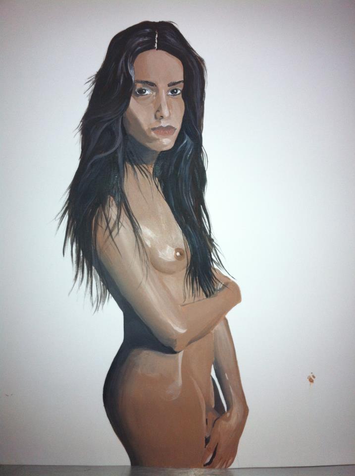 Lea T acrylic portrait