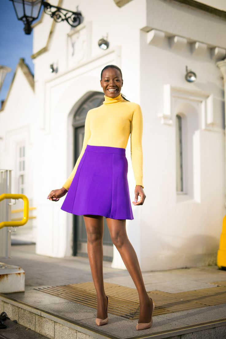 #complementarycolours #colours #winterbrights #miniskirt #mojintouch #mojintouch.com #winterwardrobe #highneckblouse #blouse