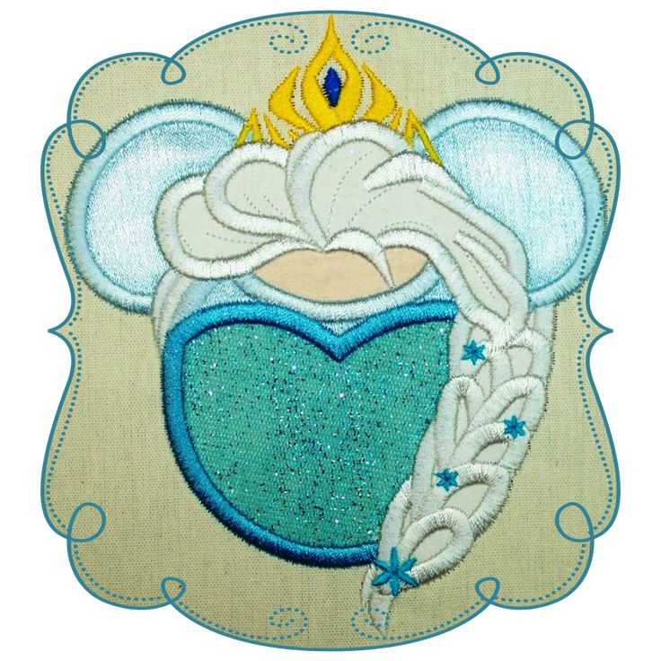 Frozen Princess Elsa Applique Machine Embroidery Design Pattern-INSTANT DOWNLOAD