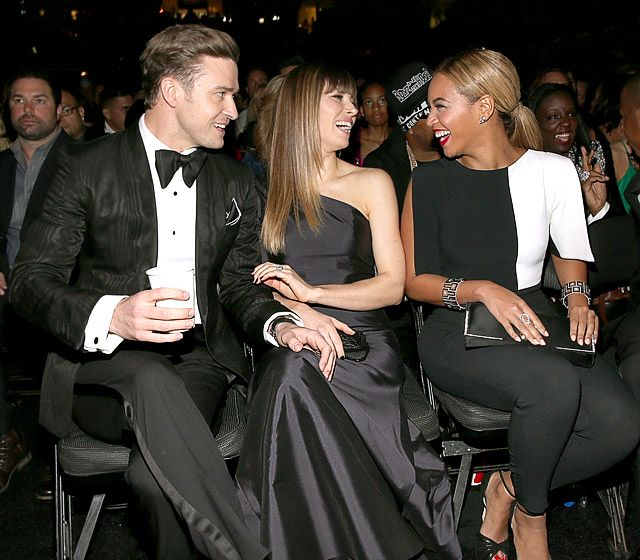 "Front Row Star Wattage    Caption this! Justin Timberlake and wife Jessica Biel share a laugh with Beyonce during the night's ceremonies. Timberlake and Beyonce's husband, Jay-Z, brought down the house at the Grammys with a duet on the former boy bander's new release, ""Suit and Tie."""