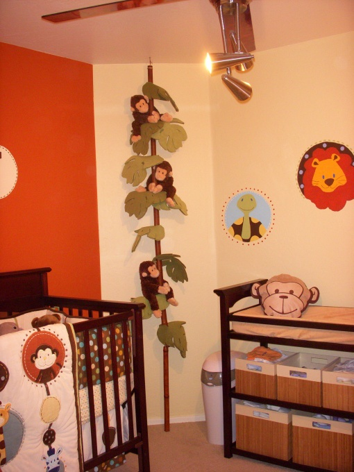 ceiling to floor vine for stuffed monkeys