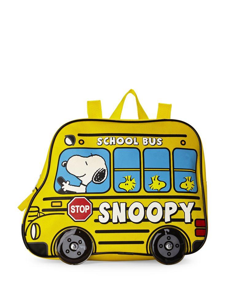 peanuts snoopy woodstock school bus backpack home garden rh pinterest com School Bus Border Woodstock Fall Clip Art