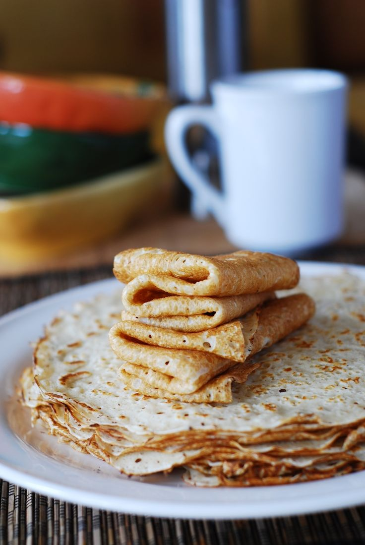 Homemade vanilla crepes - JUST made these this morning for the kids and WE LOVED THEM! Thanks @Michelle Flynn Anderson for bringing these to my attention through your pinning of wonderful things!