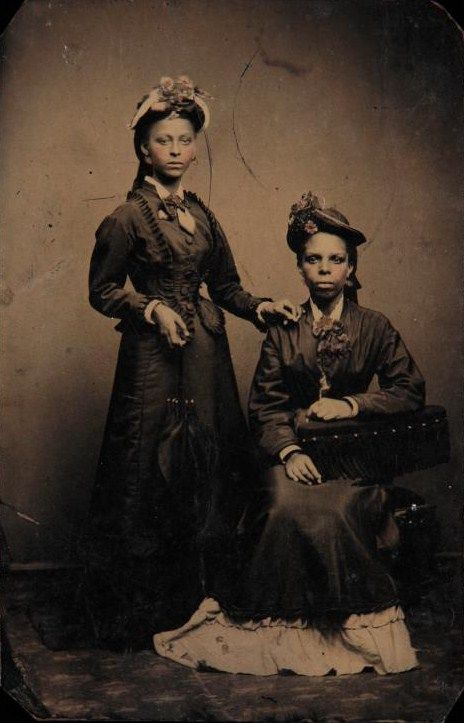Tintype of James Weldon Johnson's mother and sister: Helen Louise Johnson and Agnes Marion Edwards, 1870