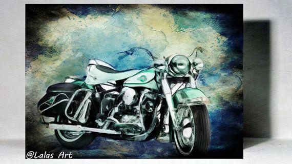 Vintage Classic Motorbike Retro Style Art by LalasArtWorld on Etsy