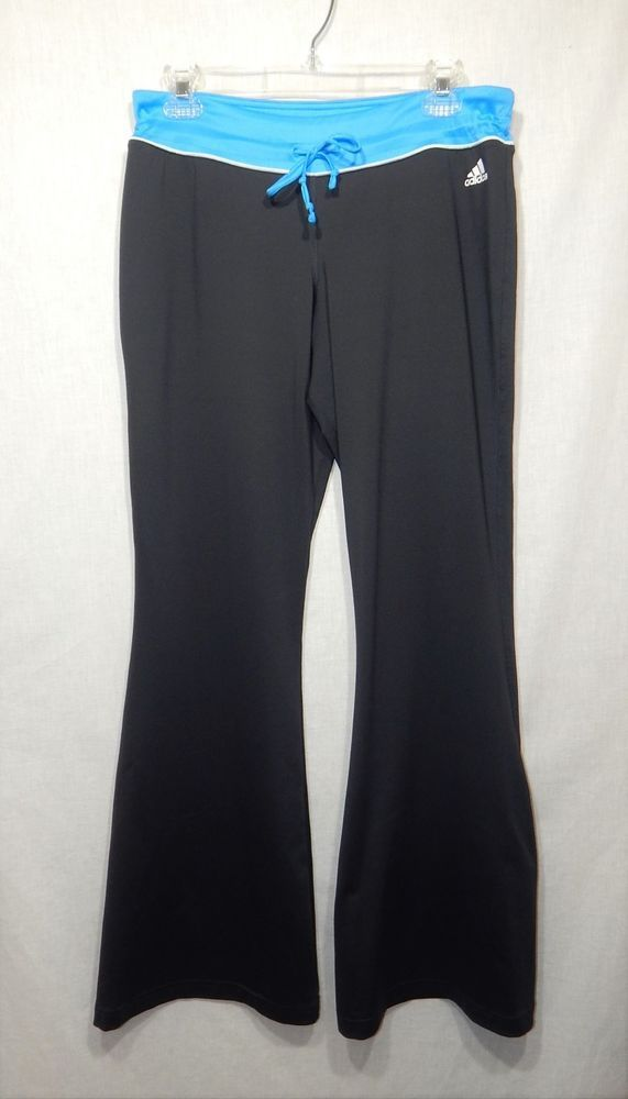 960665bdc41331 ADIDAS WOMENS CLIMALITE ATHLETIC PANTS LARGE LOGO YOGA L FLARE LEG ...