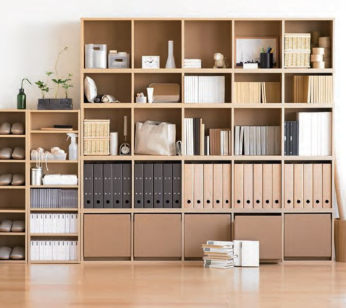 muji shelving with archive boxes | pinned into #sideeffects board