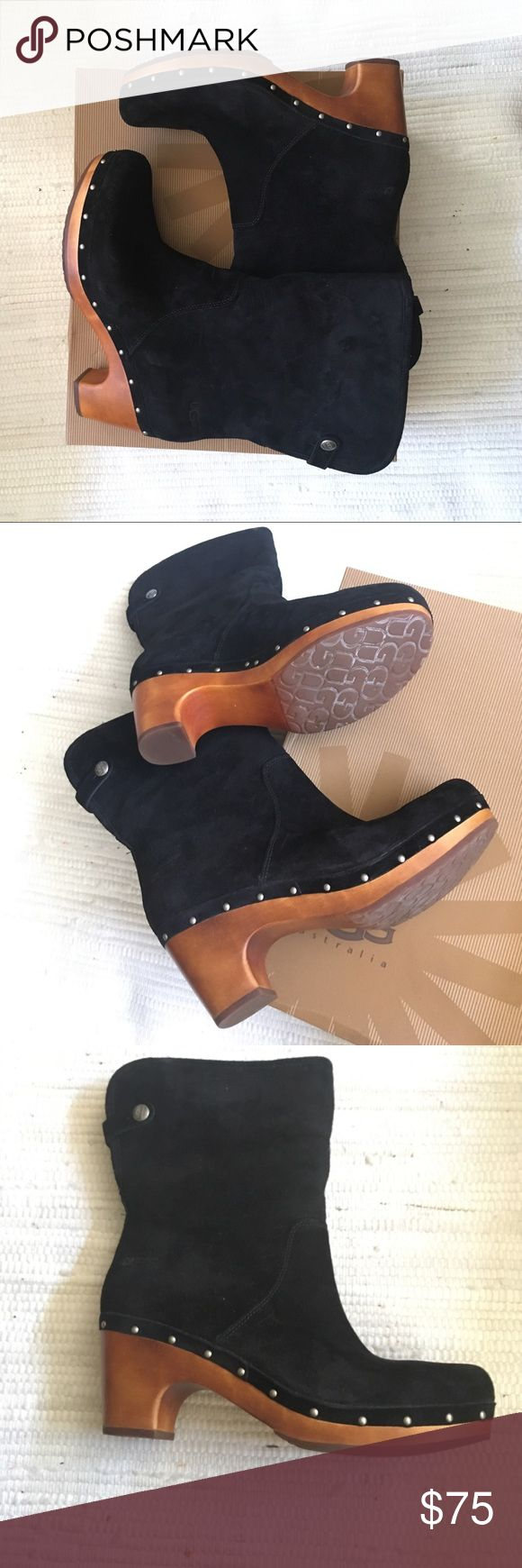 Ugg boots Black suede, great solid heel. Shearling inside and you can turn down the boots and snap to expose the shearling if you choose. Can't go wrong with Uggs! Only worn a few times. Will ship in original box. UGG Shoes Ankle Boots & Booties
