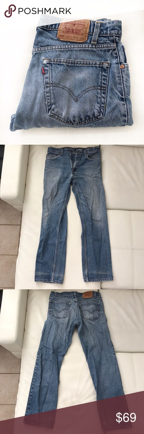 "LEVI'S 505 jeans light wash high waist size 33 Classic jeans in a vintage wash. Great condition.  👖Waist 33"" 👖Rise 11"" 👖Inseam 30"" Levi's Jeans Straight Leg"