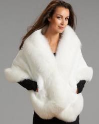 White Rex Rabbit Fur Cape with Fox Fur Trim