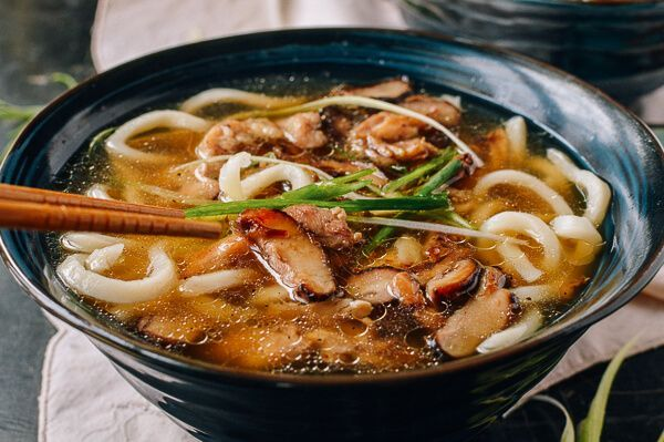 Udon Noodle Soup with Chicken & Mushrooms, by thewoksoflife.com