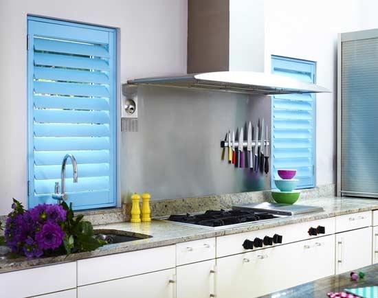 Light Blue #Shutters Brighten Up This Modern Kitchen Well. - sandiego-shutters.com