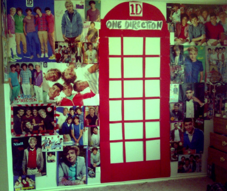 My One Direction Room! What is you put the pictures inside the phone booth