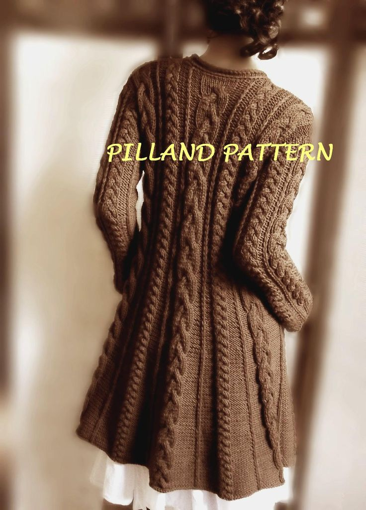 Womens coat pattern Cable Knit  Womens Sweater Knitting Pattern Aran knit swing coat Digital download knit Pattern Instant Download pattern by PillandPattern on Etsy