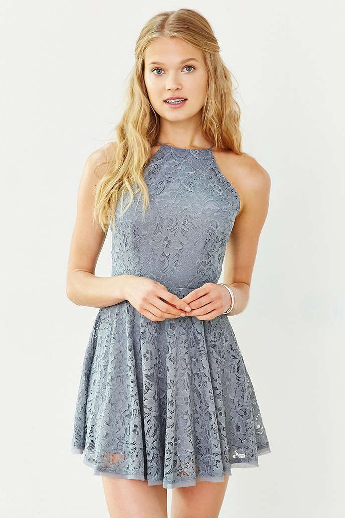 Fit n flare lace dress high collar