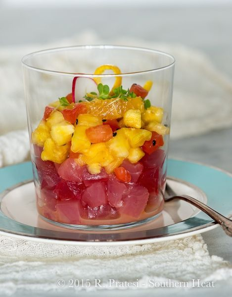 """Tuna """"Old Fashioned"""" Ceviche (w/Bourbon!)   ShesCookin.com   #recipe from Chef Anthony Lamas"""