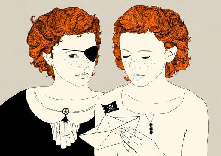 Wanddeko - Piratinnen, Digitaldruck A4 - ein Designerstück von URwerk-made-in-Ehrenfeld bei DaWanda