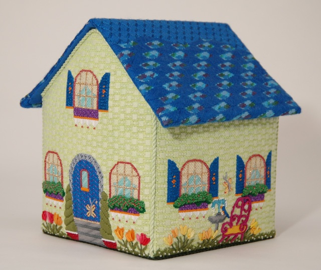 Amy Bunger Melissa Shirley Home Study - Spring House; Includes 5 pieces painted canvas, stitch guide, all threads (roof partially stitched. Sold with set of four houses; Retail $1,940; Sale $950. To reserve the set, contact Pamela Harding at Needlearts@comcast.net.