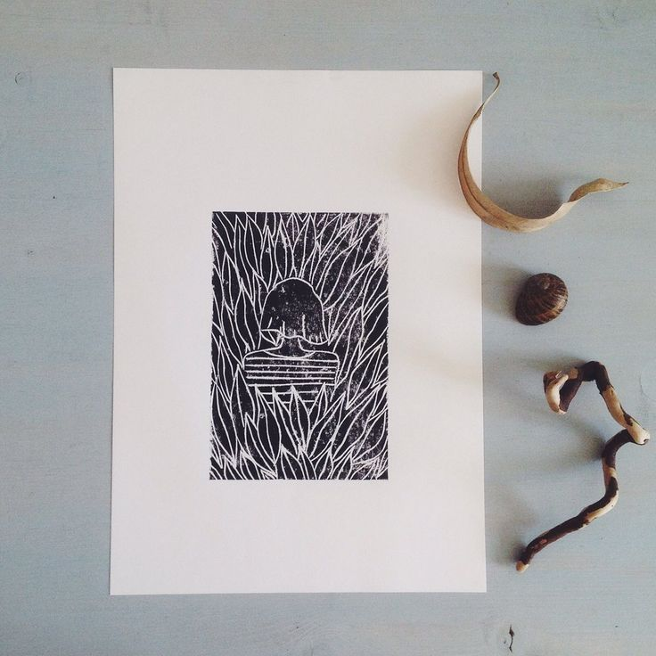 original linocut art print