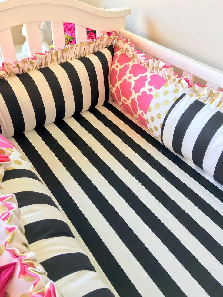Ritzy Baby Designs, LLC - Black and White Stripe and Hot Pink Crib Bumper, $280.00 (http://www.ritzybaby.com/black-and-white-stripe-and-hot-pink-crib-bumper/)