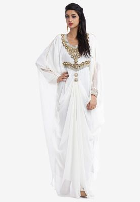 Travel to the world of fantasy with this Arabian Nights princess styled Jalabiya from Hayas Closet. Draped cut from the waist to the sides and flowy sleeves add to its traditional chic appeal. Diamante trims give it a royal touch.