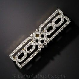 French Early Art Deco Diamond Bar Brooch