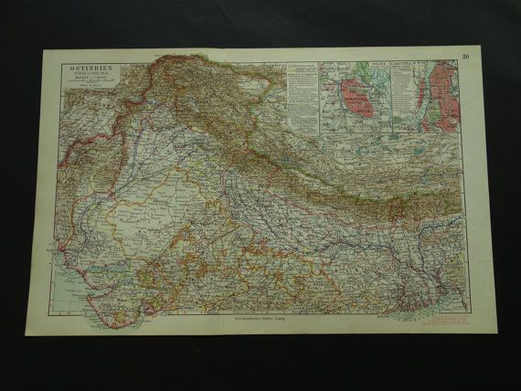 INDIA map  original 1913 detailed old antique by VintageOldMaps