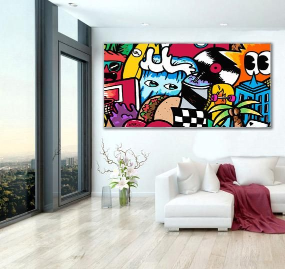 Pop Art Colorful Print On Canvas Extra Large Wall Art Etsy In 2021 Extra Large Wall Art Horizontal Wall Art Colorful Wall Art Canvas