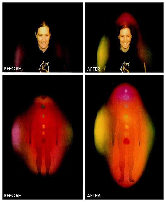 Take a look at this picture. Using a specialized camera that captures the image of the chakras and aura you can clearly see the effect of the Life Activation before and after the modality was done. Notice how lit up the person became after the Life Activation?  for more info see http://indigolight.co.za/sessions/life-activation/