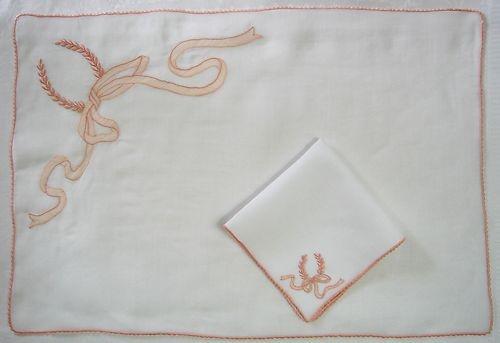 vintage marghab maderia breakfast tray set  Swiss sheer white cotton organdy. 'Wreath & ribbon' motif.