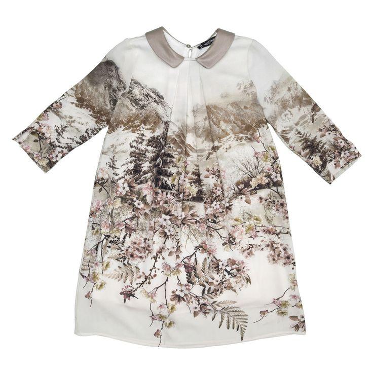 Jakioo udsalg børnetøj Elfenbenshvid kjole med beige motiv og krave tilbud børnetøj