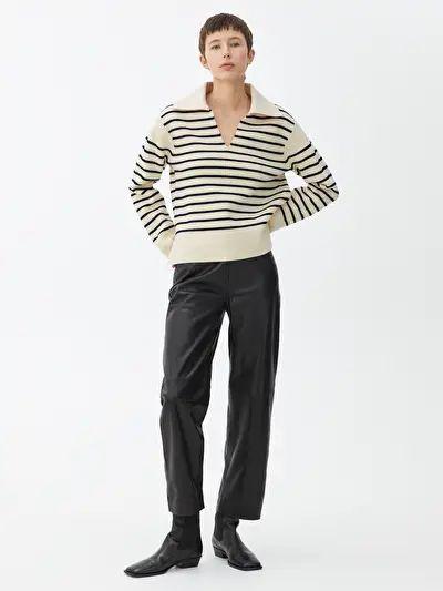 pullover aus baumwolle wolle cremeweiss marineblau knitwear