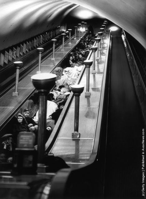 London 1940 - sheltering from a air raid in an underground station