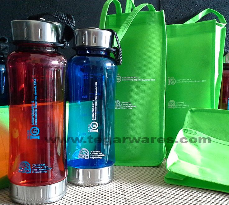 A 600ml BPA Free plastic waterbottles with a handy bag plus logo imprinted on the body for anniversary of the company merchandises