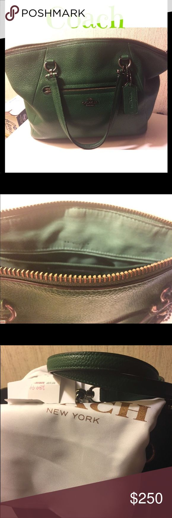 Green Coach Purse Comes with dust bag, shoulder strap and certificate. Minor wear as shown on inside but it's GUC smoke free home ***not available for bundle *** carried for less then a year. Coach Bags Shoulder Bags