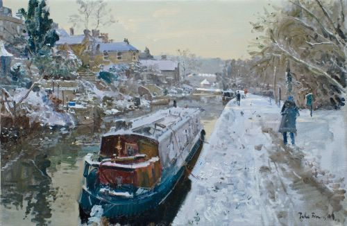 Peter Brown - Morning Snow, The Canal, Bath