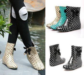 Femmes Polka Dot impression bottes de pluie cachés Wedge Bow bottines 3 couleurs
